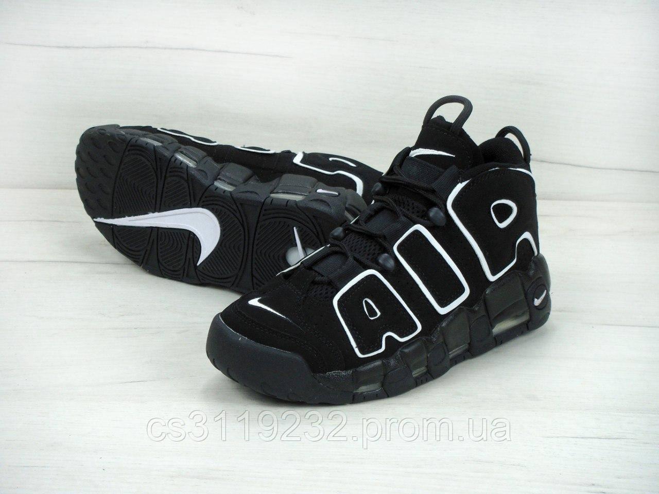 Чоловічі кросівки Nike Air More Uptempo Black (чорні)