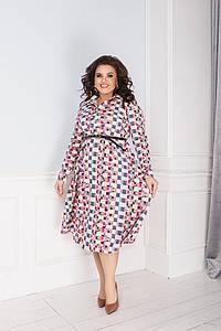 """Приталенное платье-рубашка """"Tamara"""" с длинным рукавом (большие размеры)"""