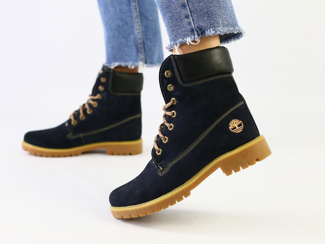Зимние синие ботинки из нубука