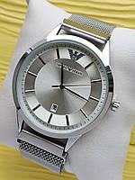 Наручные часы Emporio Armani (Эмпорио Армани) на сетчатом ремешке с магнитом, серебряные, CW520