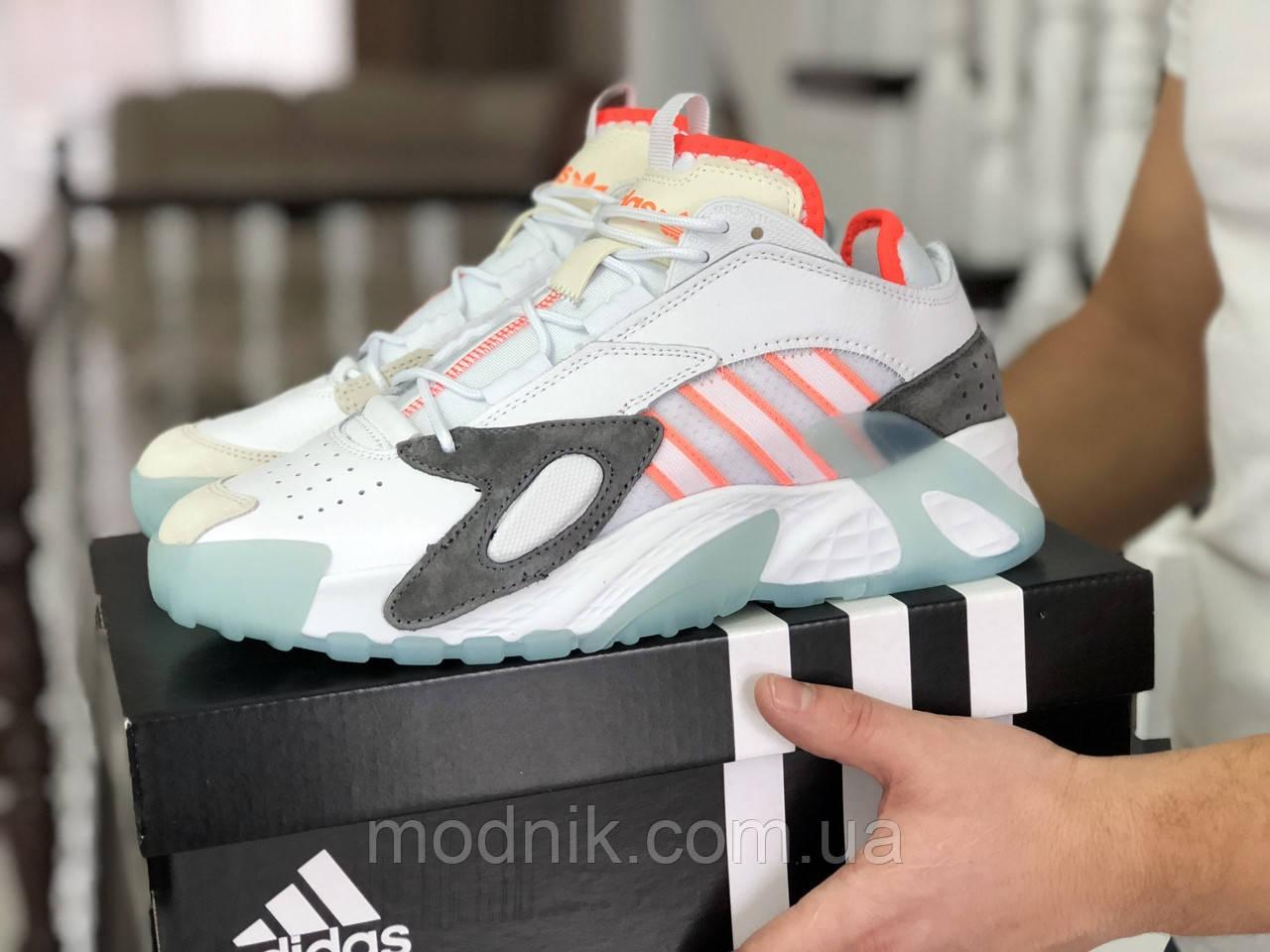 Мужские кроссовки Adidas Streetball (бело-оранжевые)