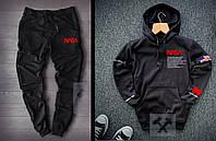 Теплий чоловічий спортивний костюм NASA НАСА чорний (РЕПЛІКА)