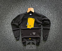 Свитшот теплый мужской черный Bart Simpson Trippy Life Барт Симпсон