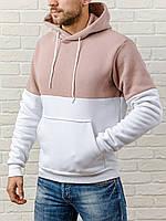 Толстовка утепленная мужская белый-беж без лого