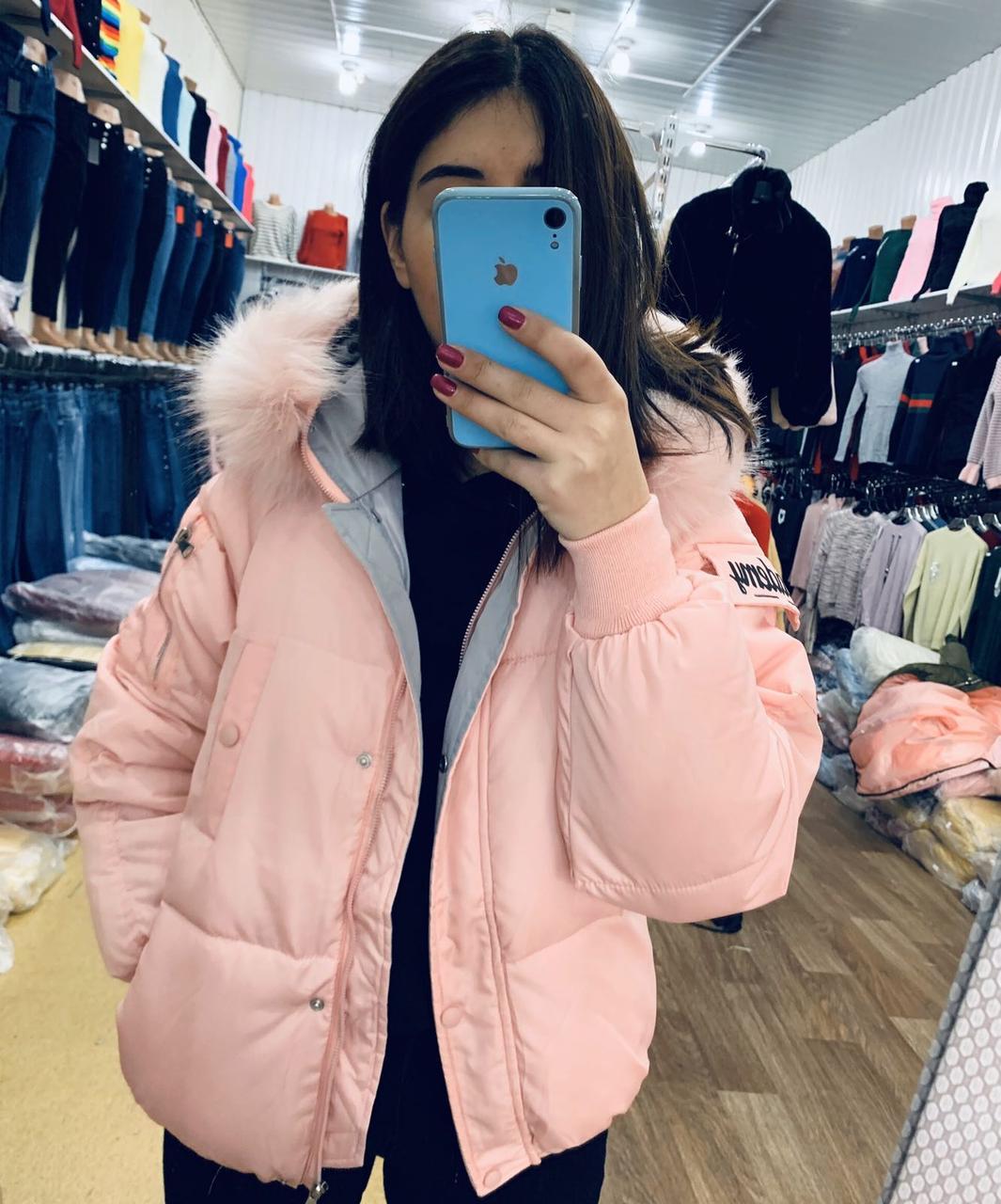 Теплая женская куртка с капюшоном 44-48 (в расцветках)