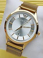 Наручные часы Emporio Armani (Эмпорио Армани) на сетчатом ремешке с магнитом, золотые с серебристым, CW522