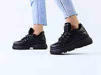 Зимние черные кожаные кроссовки