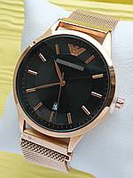 Наручные часы Emporio Armani (Эмпорио Армани) на сетчатом ремешке с магнитом, бронза с черным, CW524