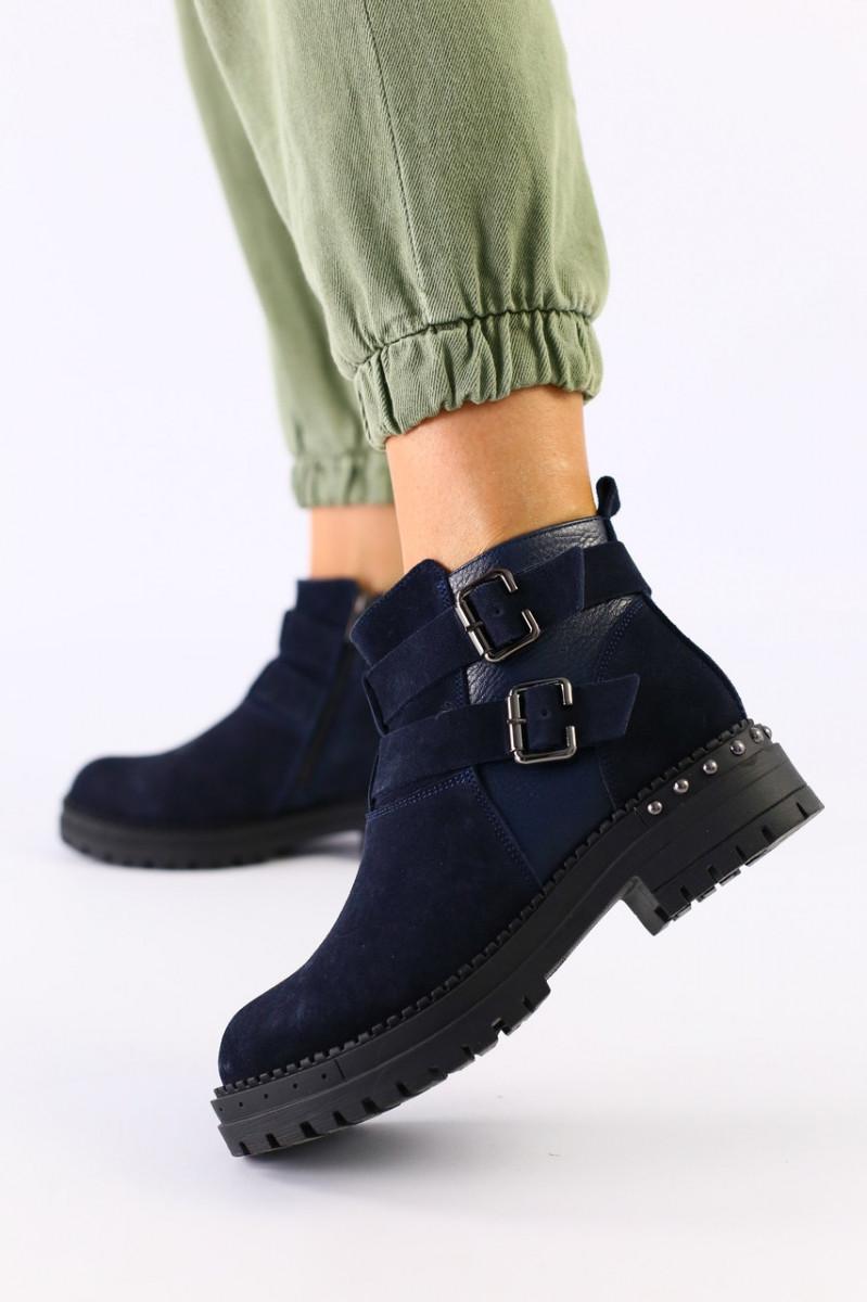 Женские темно-синие ботинки, велюр и кожа