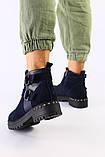 Женские темно-синие ботинки, велюр и кожа, фото 2