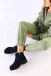 Женские темно-синие ботинки, велюр и кожа, фото 3