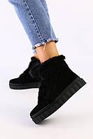 Женские черные замшевые зимние ботинки