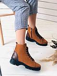 Женские зимние ботинки из нубука, рыжие, фото 5
