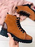 Женские зимние ботинки из нубука, рыжие, фото 6