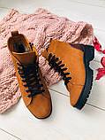 Женские зимние ботинки из нубука, рыжие, фото 7