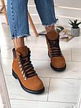 Женские зимние ботинки рыжые нубук, фото 4