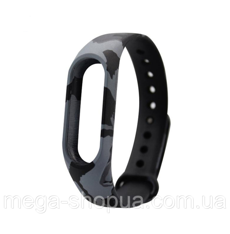 Ремешок с принтами для фитнес-браслета Xiaomi Mi Band M2 Black Camouflage