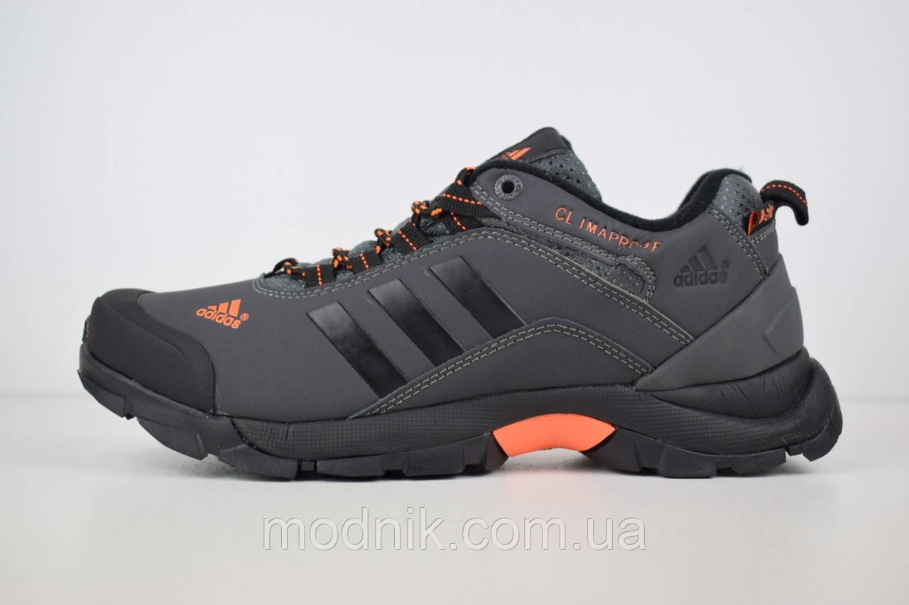 Мужские зимние кроссовки Adidas Climaproof (серо-оранжевые)