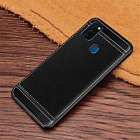 Чехол Litchi для Samsung Galaxy M30s (M307) силикон бампер с рифленой текстурой черный