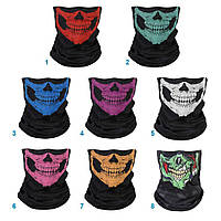 Вело мото маска от пыли защитная 2 цвета Бафф маска - с рисунком череп