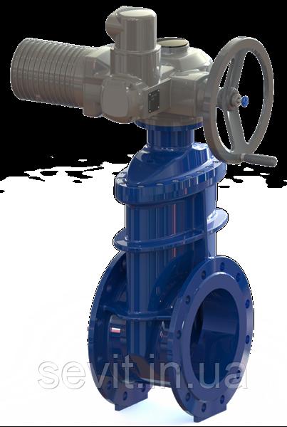 Засувка з гумованим клином T. I. S service (Італія) A021 PMOT I DN350 PN16 з електроприводом AUMA SA14.2