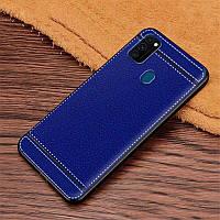 Чехол Litchi для Samsung Galaxy M30s (M307) силикон бампер с рифленой текстурой синий