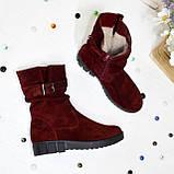 Ботинки женские замшевые демисезонные на утолщенной подошве, цвет бордо, фото 2