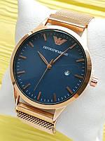 Наручные часы Emporio Armani (Эмпорио Армани) на сетчатом ремешке с магнитом, бронза с синим, CW527
