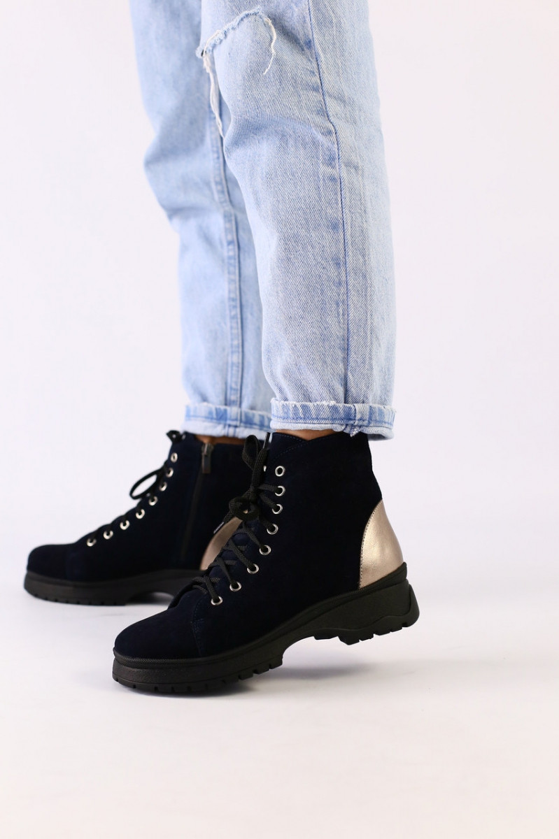 Женские зимние ботинки велюровые темно-синие
