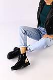 Женские зимние ботинки велюровые темно-синие, фото 3