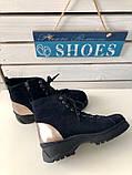 Женские зимние ботинки велюровые темно-синие, фото 6