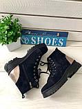 Женские зимние ботинки велюровые темно-синие, фото 7