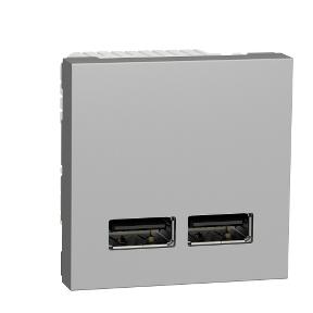 Schneider Розетка USB подв. 2.1А 2 модуля алюм