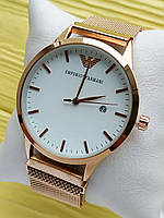 Наручные часы Emporio Armani (Эмпорио Армани) на сетчатом ремешке с магнитом, бронза с белым, CW528