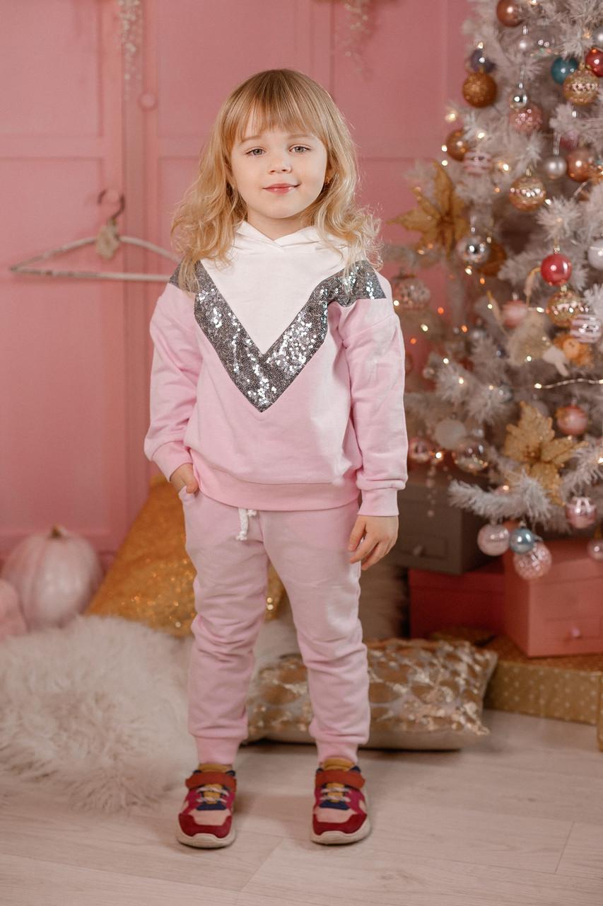 Модный детский костюм для девочки с паетками
