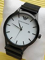 Наручные часы Emporio Armani (Эмпорио Армани) на сетчатом ремешке с магнитом, черные с белым, CW530