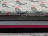 """Лоскут ткани """"Месяц в розовой шапке"""" на сером фоне (911а), размер 78*48 см., фото 5"""
