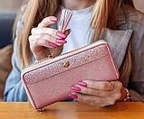 Гаманець шкіряний жіночий клатч Foxer в подарунковій коробці (рожевий), фото 2