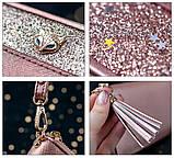 Гаманець шкіряний жіночий клатч Foxer в подарунковій коробці (рожевий), фото 8