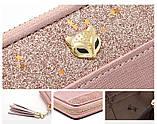 Гаманець шкіряний жіночий клатч Foxer в подарунковій коробці (рожевий), фото 5