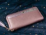 Гаманець шкіряний жіночий клатч Foxer в подарунковій коробці (рожевий), фото 3