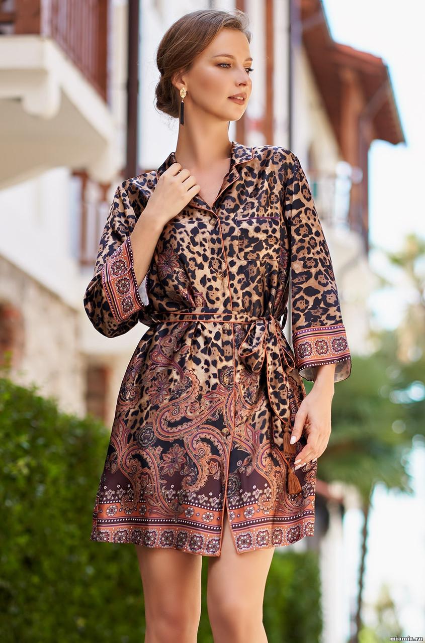 Рубашка - халат из натурального шелка 70%. Италия Mia-Mia Клеопатра 3567