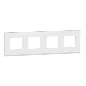 Schneider Рамка 4-пост, гориз, Матове скло/біл