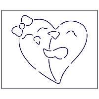 Трафарет Влюбленые в сердце 10*11 см (TR-1)
