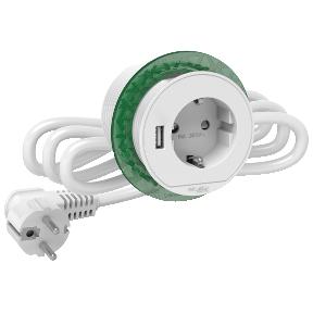 Schneider БЛОК РОЗЕТ. (2К+З)+USB тип А БЕЛЫЙ