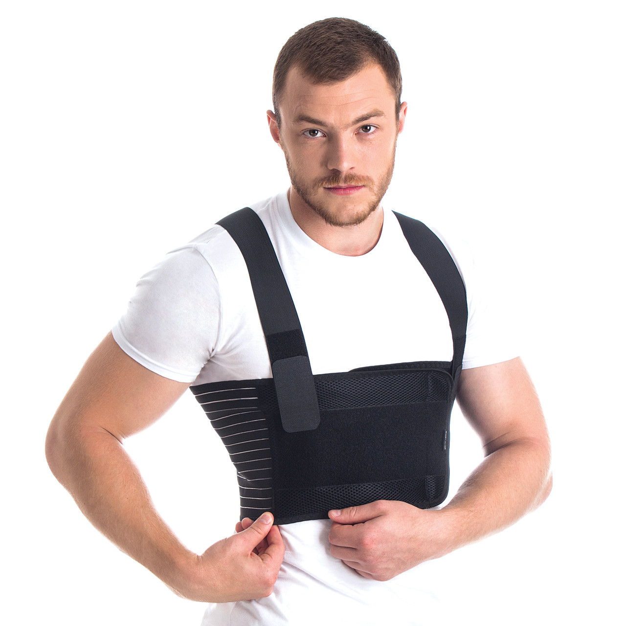 Бандаж мужской для фиксации грудной клетки /пористый/ Тип 155 Ч