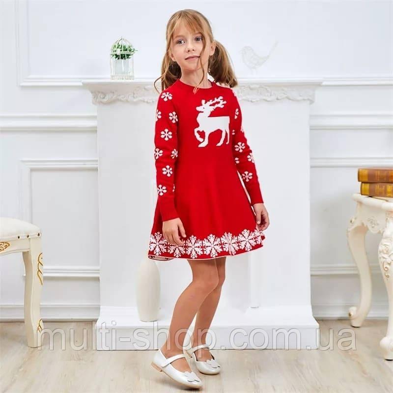 Платье для девочки с оленем 128