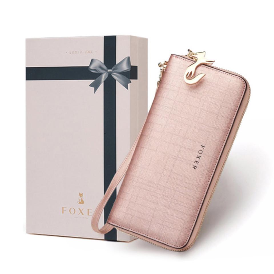 Гаманець шкіряний жіночий клатч Foxer в подарунковій коробці (рожевий)