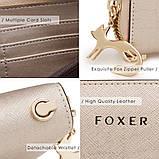 Гаманець шкіряний жіночий клатч Foxer в подарунковій коробці (рожевий), фото 9