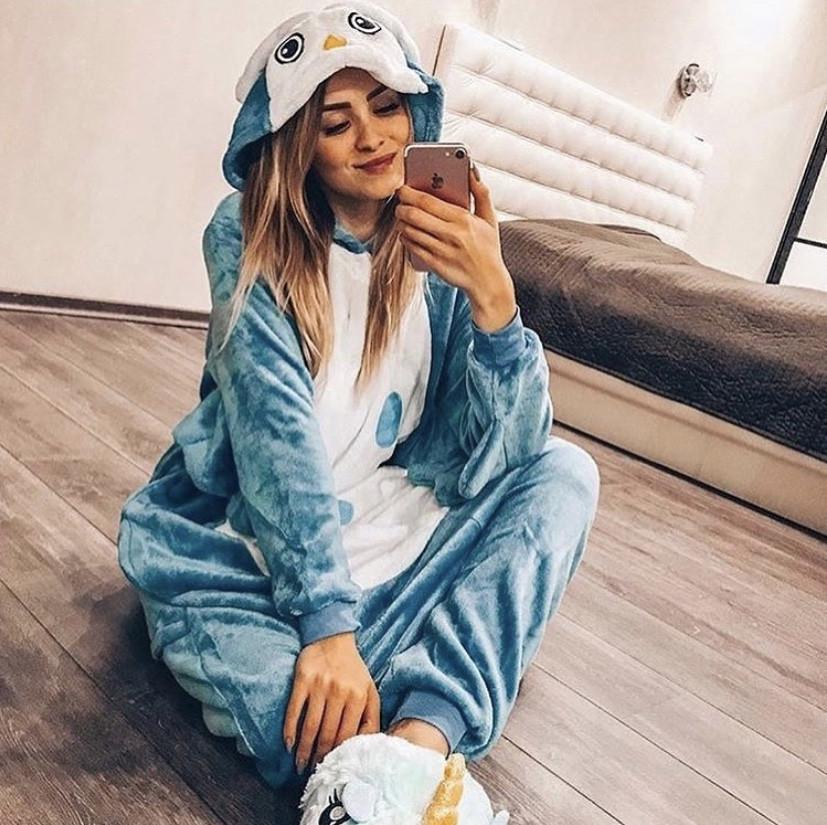 Женская пижама кигуруми Сова синяя kig0020